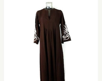 ON SALE Vintage Brown Hawaiian Maxi  Dress from 1970's/Resort Maxi Dress/Bell sleeve*