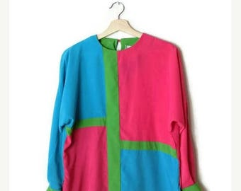 ON SALE Vintage Color Blocked Long Sleeve Slouchy Blouse from 80's/Pink/Blue*