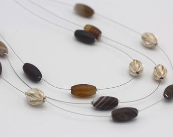 Brown agate stone and handmade silver magnolia flower beads three strand necklace (N0097)