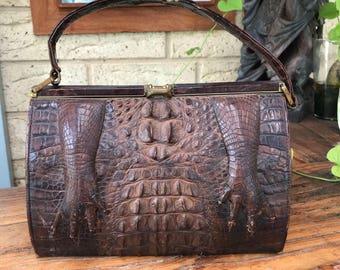 Vintage 1940's 50's Alligator Claws Handbag