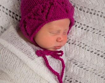 Raspberry baby bonnet ,Newborn girl baby bonnet , Photo prop baby girl bonnet in Pink