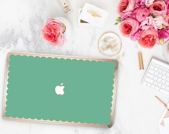 Eucalyptus and Scallop Rose Gold Edge Hybrid Hard Case for Apple Mac Air & Mac Retina , New Macbook 2016 - Platinum Edition