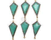 Aqua Chalcedony Connector, Gold Plated Bails, Cubic Zircon Pave Diamonds, Jewelry Making Supplies, Connectors GemMartUSA (GPAD-50068)