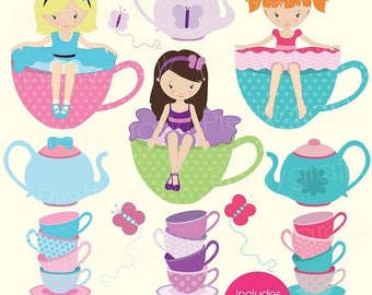 80% OFF SALE tea party clipart for scrapbooking, commercial use, vector graphics, digital clip art, digital images - CL515
