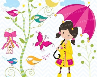 80% OFF SALE little girl in the rain clipart commercial use, vector graphics, digital clip art, digital images - CL441