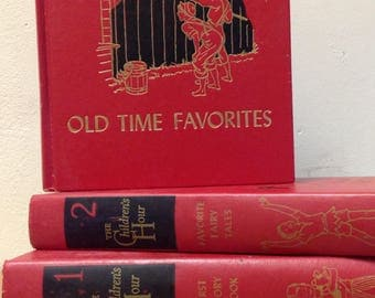 Set 3 decorative Children's books 1950's 1953 The Childrens Hour 1 2 3 First Story Book Favorite Fairy Tales Old Time Favorites red black HB