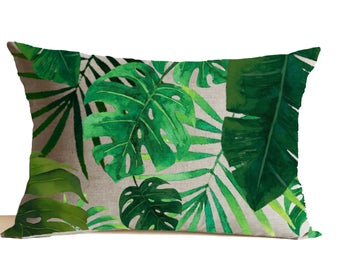 Tropical Leaves Pillow Cover, Emerald Green Pillow, Linen Pillow, Forest Pillow, Botanical Throw Pillow, Mother's day gifts, Mother's gifts.