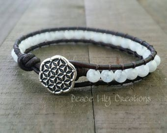 Moonstone leather wrap bracelet single wrap flower of life boho bracelet yoga bracelet earthy stacking bracelet