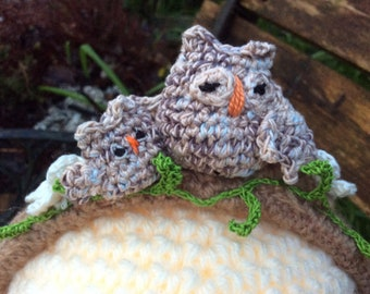 Fred and Ginger crochet owl headband