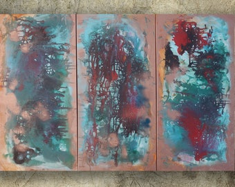 Fluid Abstract paintings 120x180x4 cm copper turquoise XXL OFFICE decor a77 original abstract art by Ksavera