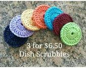 Set of 3 Dish scrubbies,pot scrubbers,crochet dish scrubbies,harvest,spring, neon,citrus,navy,purple, yellow,orange,maroon,teal, lime