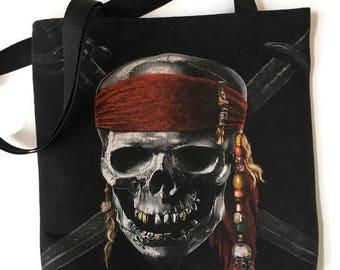Pirates of the Caribbean Bag • Tshirt Tote Bag • Upcycled Handbag • Pirate Gift