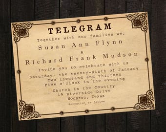 Telegram Wedding Invitation Invitations Announcement PDF JPEG