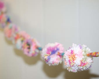 Pastel Pom Pom Garland with Paper Beads  (8) 2 inch Pom Poms -  Pom Banner - Pom Pom Garland -  Party Garland - Nursery Garland
