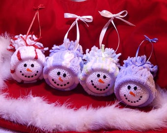 Snowman Glass Ball Ornaments with Yarn Hat