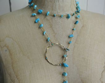 Turquoise Lariat Necklace, Wear multiple ways, Delicate 14K Plated Circle and Rosary Chip Chain, Great Gift, One of a Kind By UPcycled Works