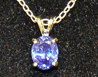 Blue Zircon PendantNecklace, 9x7mm Oval, Natural, Set in Sterling Silver P664