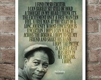 "The SHAWSHANK REDEMPTION Red ""I Hope"" Quote Poster"
