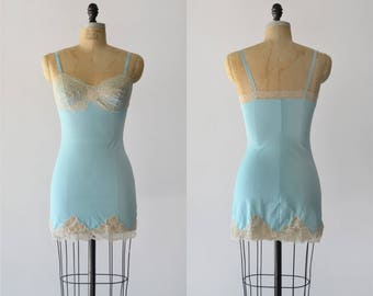 Bright Blue Day Slip / 1960s blue nylon slip / vintage lace lingerie