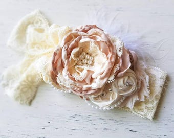 Cream beige Couture Ivory Couture Baby girl headbands, chic couture, vintage headband, newborn headband, Photo prop