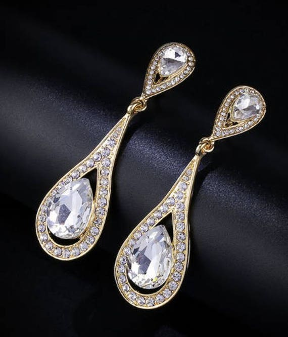 "PAIR Rhinestone GOLD Crystal Wedding Prom Gauges Plugs 8mm 0g 10mm 00g 7/16"" 11mm 1/2"" 12mm 9/16"" 14mm 5/8"" 16mm 11/16"" 19mm 3/4"""
