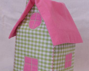 Pink House with roof and green gingham handkerchiefs