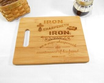 Bible Verse, Proverbs 27:17, Bamboo Cutting Board, Laser Engraved Bamboo Cutting Board