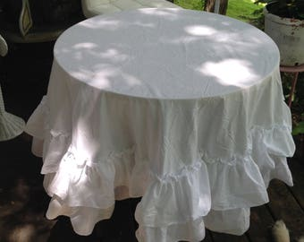 round ruffled table cloth-made to order