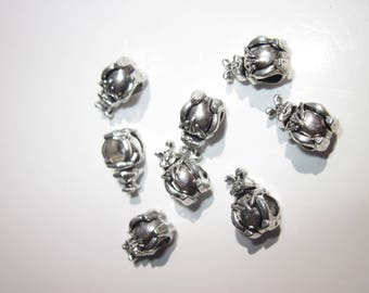 4 beads in the shape of rabbit metal big hole Silver (1947)