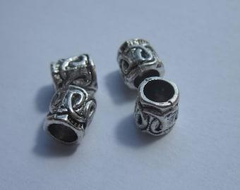 4 beads metal barrel silver 6 x 7 mm-(2061)