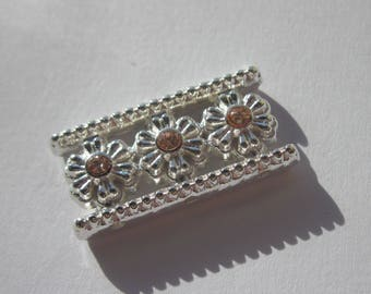 Insert rectangular silver metal with Rhinestone 13 x 26 mm (C1)