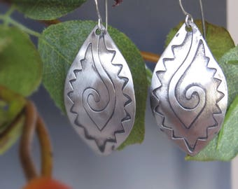 Etched Silver Earrings: Mexican Motif 1