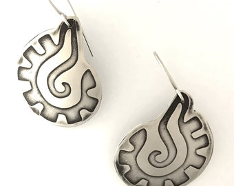 Etched Silver Earrings: Mexican Motif 3
