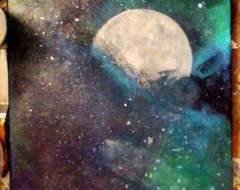Nebula Moon- Original Acrylic Painting on Canvas