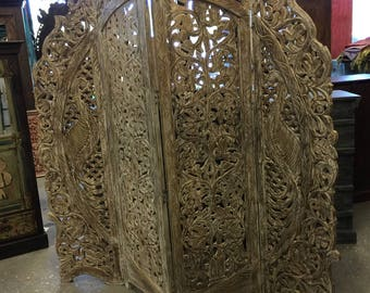 Vintage Hand carved 4 Panel Floral Peacock Handcrafted Wood Room Divider Screen from Jaipur India FREE SHIP