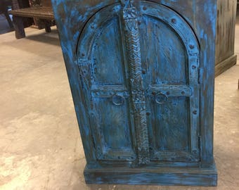 Antique Round Top Wooden Double Door Designs Distressed Blue Side Table, Nightstand, Bar Cabinate, Furniture Interior Design Decor FREE SHIP