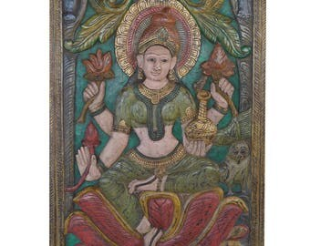 Vintage Barn Door Carved Lakshmi Hindu goddess of wealth, fortune and prosperity Wall Sculpture, Panel Zen Decor FREE SHIP