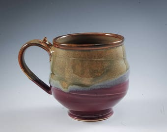 Handmade Pottery Mug Purple and Golden brown Stoneware by Mark Hudak