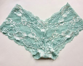 Mermaid green lace knickers. Handmade lace lingerie from Brighton Lace.