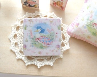 dollhouse nursery  beatrix potter  jemima puddle duck wall plaque  wooden poster picture 12th scale miniature