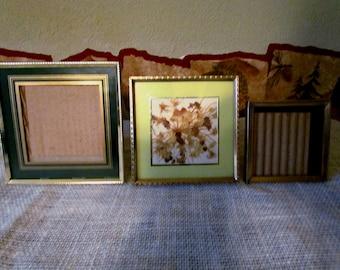 Vintage Gold Metal Frames, Small square set of 3