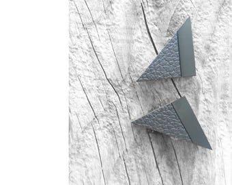 Black Leather stud Earrings Geometric earrings