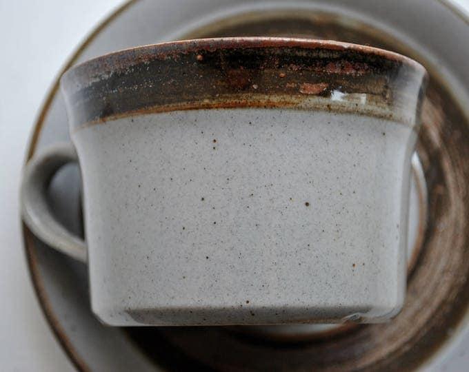 Danish Modern Knabstrup Brown Cup and Saucer Pair Stoneware 1970's