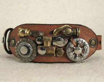 440 Motorcycle Steampunk Burning Man Bracelet Old Motorcycle Saddlebag Recycled Jewelry Industrial Machine Age