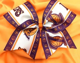 Los Angeles Lakers Basketball Sports Grosgrain Cheer Bow