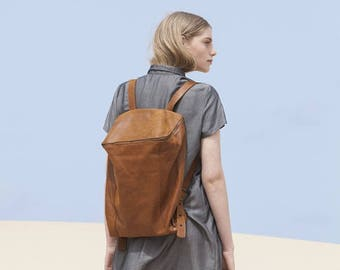 Sale, Brown Leather Backpack, Laptop Bag, Travel Bag, School Bag, Honey Brown Leather Bag, Handmade - Honey Brown Lou