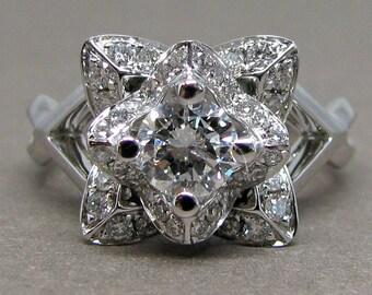 Round Diamond 1.0ct Total Weight Lotus Flower Floral Diamond Engagement Ring 14k White  Gold