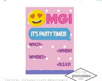 ON SALE SALE!!! Printable Invitation emoji already made instant download texting tween teen emoticon phone girl birthday party