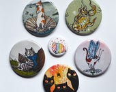 Kitty pinback buttons: 6 cat motifs
