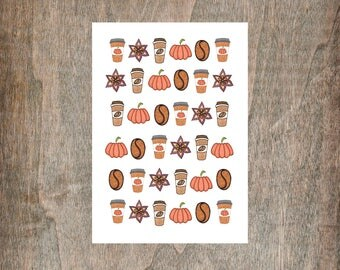 Pumpkin Spice Nail Transfers - Set Of 30 Mini Illustrated Pumpkin Spice Latte Coffee Nail Transfers - Cute Halloween Nail Sticker Decals